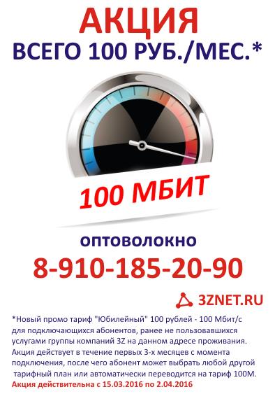 100 рублей за 100 Мбит